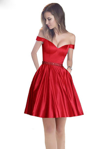 Off The Shoulder Beaded Satin Short Prom Dress with Pocket, Homecoming Dress UK, OP198