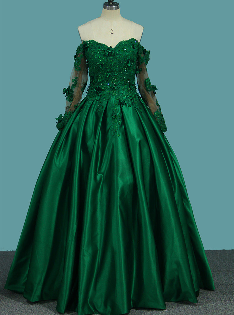 Off The Shoulder Green Prom Dresses With Long Sleeves Quinceanera Dress OP361