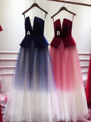 A/B Pattern Plunging Long Evening Gowns Spaghetti-straps Ombre Prom Dresses, OP138