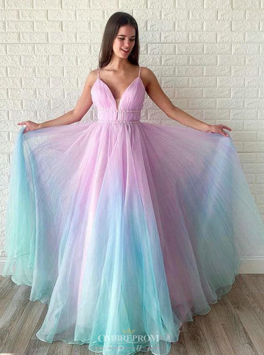 Ombre Long Prom Dress V-neck Beaded Graduation Gown OP646
