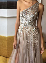 Sexy One Shoulder A Line Sequins Evening Dress With Beads Long Split Prom Dress OP255