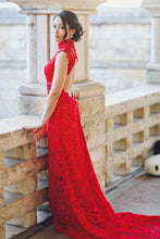 Elegant High Neck Sheath Red Lace Prom Dress Open Back Formal Gown OP829