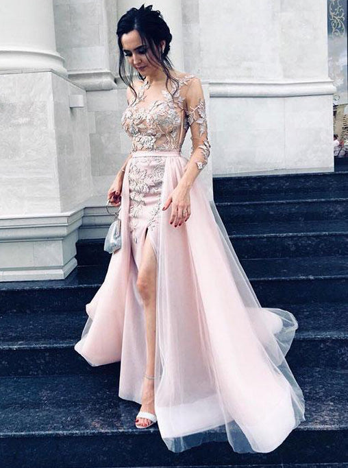 Overskirt Tulle Prom Dress Jewel Long Sleeves with Appliques Split Sheath Evening Dresses OP330