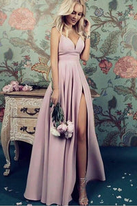 Charming Deep V Neck Straps Floor Length Prom Dresses P613