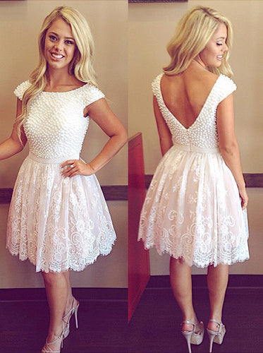 Luxurious Scoop Pearl Bodice Open Back Short Prom Dresses, OP206
