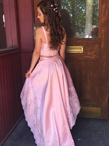 Pink Spaghetti-straps V-Neck Applique Two Piece Hi-Lo Homecoming Dresses, OP223