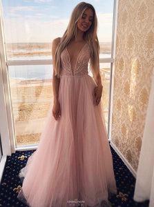 Pink A-line Plunging Neckline Tulle Prom Dress Long Formal Gown OP508