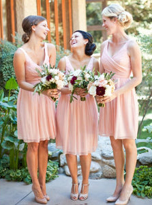 Pink Chiffon Pleated Bridesmaid Dresses A-Line V-Neck Knee-Length OB194