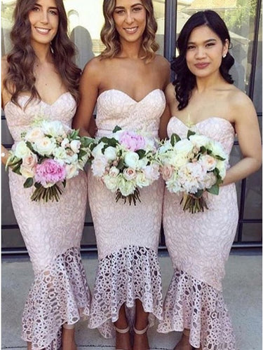Pink High-Low Mermaid Lace Bridesmaid Dresses Asymmetric Party Dresses OB178