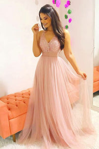 2019 Pink Long Prom Dress A-Line V-Neck Teens Dress with Beading OP392