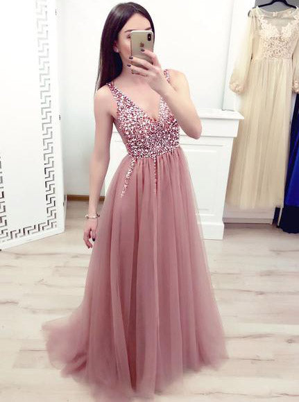 Dusty Pink Long Prom Dresses Elegant Beaded Bodice Evening Gown OP451