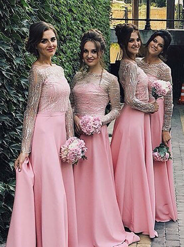 Pink Long Sleeves Off-the-shoulder Satin Bridesmaid Dresses OB187
