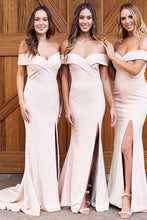 Pink Off-the-Shoulder Mermaid Simple Bridesmaid Dress with Split OB189