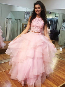 Pink Prom Dress High Neck Lace Bodice Ruffled Two Piece Ball Gown OP697