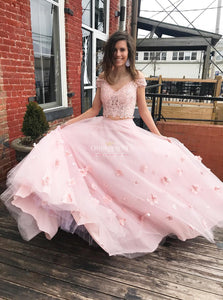Pink Prom Dresses Off-The-Shoulder A Line Two Piece Graduation Gowns OP482