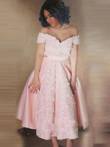 A-line Off-The-Shoulder Pink Short Prom Dress, Homecoming Dress, OP220