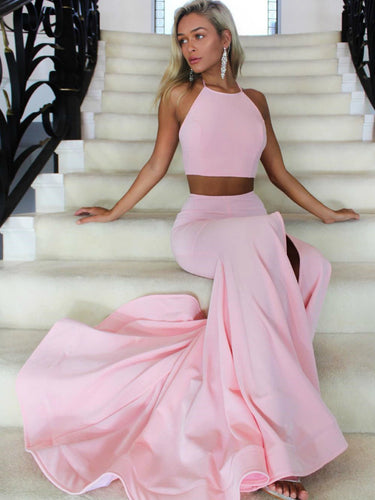 Pink/Daffodil Halter Neckline Two Piece Sexy Mermaid Long Prom Dress with Slit, OP136