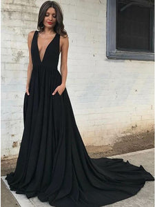 Sexy A-Line Plunging Neckline Backless Black Prom Dress with Pockets, OP157