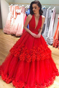 Plunging Neckline Red Ball Gown Tulle Handmade Flowers Prom Dresses OP612