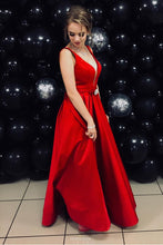 Plunging Neckline Satin Red Prom Dress A-line Formal Gown OP509