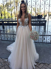 Plunging Neckline Tulle Wedding Dress A-Line V-Neck with Appliques OW396