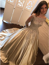 Princess Ball Gown Long Sleeves Prom Dress with Appliques Beading OP399