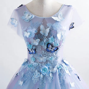 Princess Blue Quinceanera Dress 3D Butterfly Floral Applique Prom Ball Gown OP436