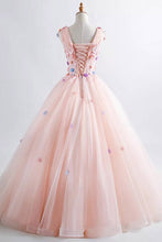 Princess Blush Ball Gown 3D Floral Applique V-neck Prom Quinceanera Dress OP435