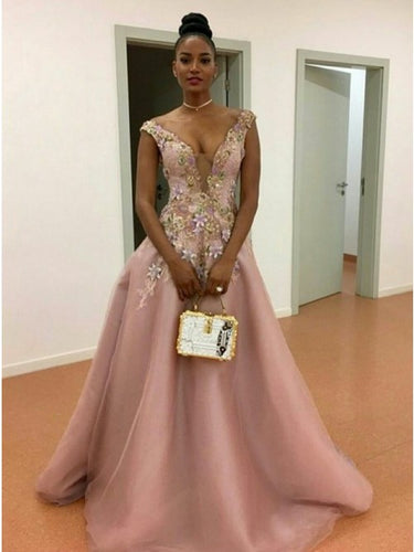 Princess Deep V-Neck Floral Appliques Pearl Pink Tulle Prom Dress OP380