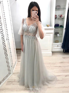 Princess Half Sleeves Long Prom Dress Beaded V-neck Party Gown UK OP620