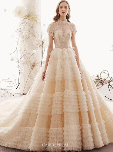 Princess Layered Wedding Dress With Cap Sleeves Beading Bridal Gown OW411