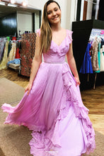 Princess Lilac Backless Boho Prom Dress, Long Formal Gown With Ruffles OP534