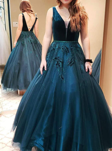 Princess Ball Gown V Neck Dark Green Backless Long Prom Dress OP440