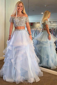 Princess Off-the-Shoulder Short Sleeve Two Piece Prom Dress With Beading OP544