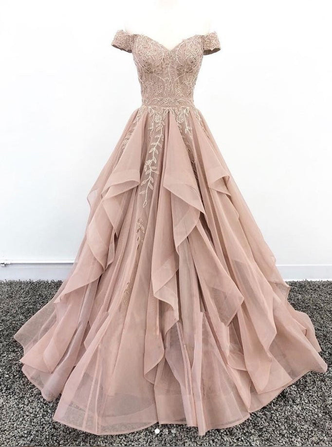 Princess Off Shoulder Tulle Long Prom Dress, Lace Appliques Evening Gown OP684