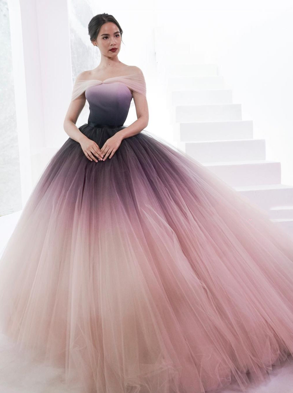 36f25fa83db9c Princess Ombre Ball Gown Off-Shoulder Prom Dress Long Evening Gown OP601 ...