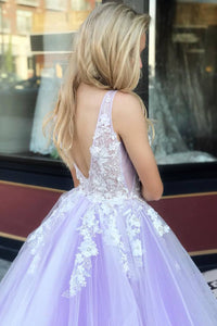 Princess Prom Dresses 3D Floral Appliques Tulle V-Neck Sweet 16 Dresses OP609
