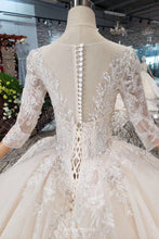 Princess Sheer Neckline Appliques Wedding Dress with 3/4 Sleeves OW409
