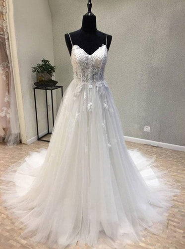 Princess Spaghetti Straps Lace Tulle Lace-up Beach Wedding Dress OW335