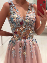 Princess V-neck Floral Beading Appliques Pink Long Prom Dress OP331