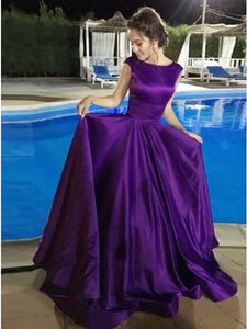 A-Line Round Neck Open Back Purple Satin Long Prom Dress, OP187