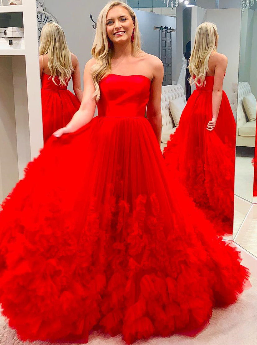 Red A-Line Strapless Long Prom Dress Elegant Pageant Gown OP650
