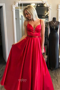 Red A-line Satin V-neck Long Prom Party Dresses With Beaded OP499