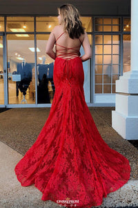Red Backless Long Prom Dresses V-Neck Mermaid Spaghetti Evening Dress OP539