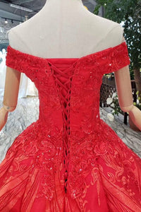 Red Ball Gown Off The Shoulder Appliques Beads Quinceanera Dress OP644