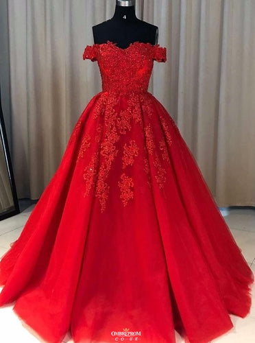 Red Ball Gown Tulle Off-the-shoulder Lace Appliques Long Prom Dresses OP532