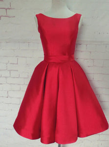 Red Bateau A-line Open Back Bowknot Homecoming, Holiday Dress, OP192