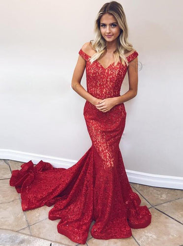 Red Lace Mermaid Prom Dress Off The Shoulder Formal Evening Gown OP419