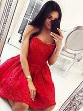 Red Sweetheart Beading Lace Short Prom Dress with Waist Bowknot