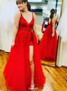 Red Long Prom Dress V-neck Sexy Backless Party Gown With Slit OP535